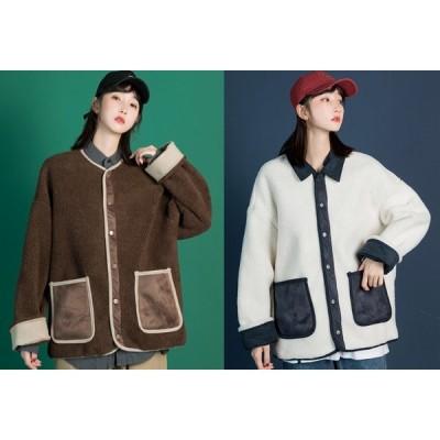 全2色 ファーコート 厚手 ファー付き 切り替え 体型カバー 着痩せ シンプル