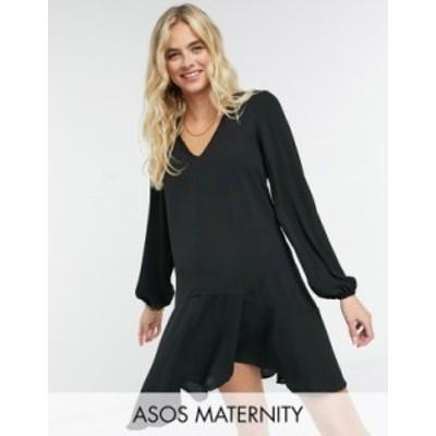 エイソス レディース ワンピース トップス ASOS DESIGN Maternity long sleeve v-neck mini dress with curved hem in black Black