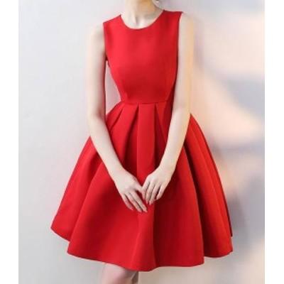 韓国 ファッション レディース パーティードレス お呼ばれドレス ワンピース 膝丈 リボン ノースリーブ フレア Aライン 無地 結婚式 二次