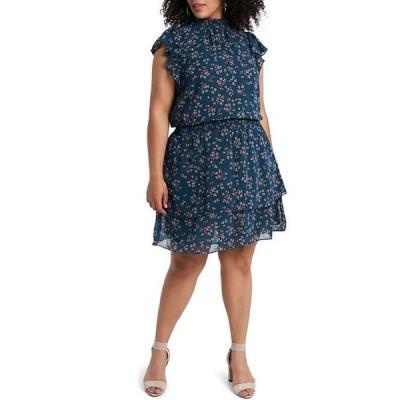 ワンステート レディース ワンピース トップス Plus Size Mock Neck Flutter Sleeve Layered Hem Floral Print Blouson Dress