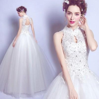 ウェディングドレス ロングドレス 結婚式 花嫁 Aラインドレス  ホルターネック  二次会 パーティー ノースリーブ  大きいサイズ ホワイト