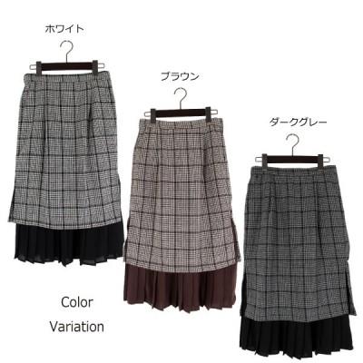 グレンチェック×レイヤードプリーツタイトスカート(ブラウン×M)