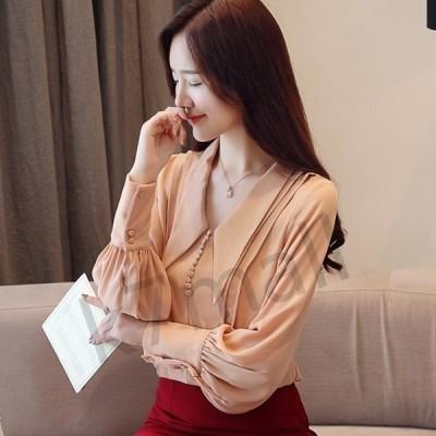 柔らかサーモンピンク?バルーンスリーブ 襟の形が珍しい シフォンシャツ AF1615