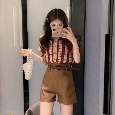 ショート オルチャンファッション パンツ 韓国ファッション ボトムス レディース ハイウエスト 無地 原宿 キュロット