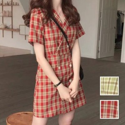 韓国 ファッション レディース ワンピース 春 夏 カジュアル naloK367  チェック フロントボタン ラップ シャツワンピ  シンプル コーデ