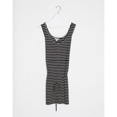 ブレイブソール ドレス 大きいサイズ レディース Brave Soul Plus pallas striped button through jersey dress with tie waist in black  エイソス ASOS sale