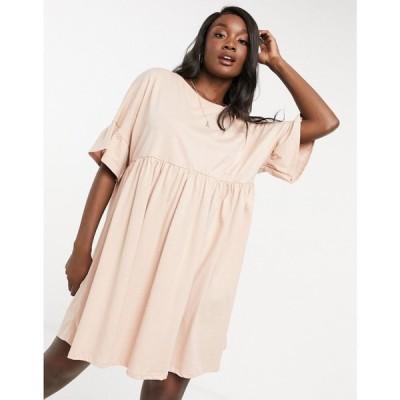 エイソス ASOS DESIGN レディース ワンピース ワンピース・ドレス super oversized frill sleeve smock in tan タン