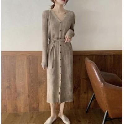 韓国 ファッション レディース ニットワンピース ニットワンピ ロング Vネック リブ リボン 長袖 ゆったり カジュアル 大人可愛い 秋冬