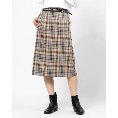 シーナ SHEENA ベルト付きチェックナロースカート (ベージュ)