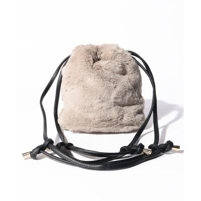 【インタープラネット】 フェイクファー巾着バッグ レディース グレー 000 INTERPLANET