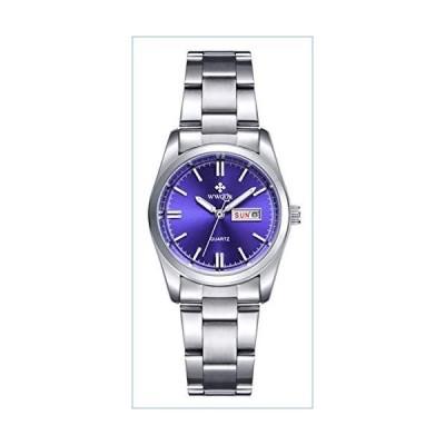 Luxury Women's Fashion Luminous Quartz Dress Waterproof Calendar Stainless Steel Sports Wristwatch Blue並行輸入品