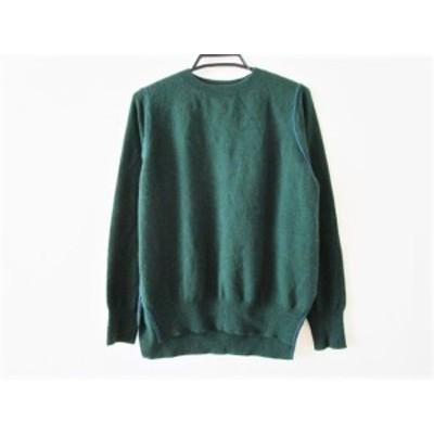 エンフォルド ENFOLD 長袖セーター サイズ38 M レディース - ダークグリーン×ブルー クルーネック【中古】20201201