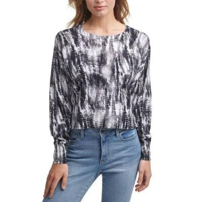 ダナキャランニューヨーク ニット&セーター アウター レディース Printed Cropped Cotton Sweater Black Ivory