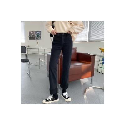 【送料無料】秋服 年 女 韓国風 ハイウエスト 何でも似合う 着やせ ルース ストレ | 364331_A63755-1061809