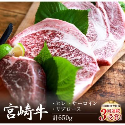 宮崎牛ヒレ・サーロイン・リブロースステーキ肉(計3枚)&特製スパイスセット