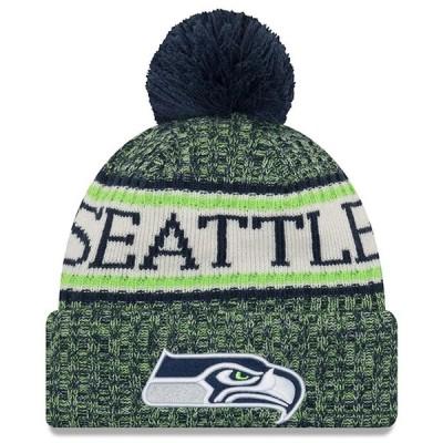 """ニューエラ メンズ ニット帽 """"Seattle Seahawks"""" New Era NFL 2018 Sideline Cold Weather Official Sport Knit Hat 帽子 Navy"""