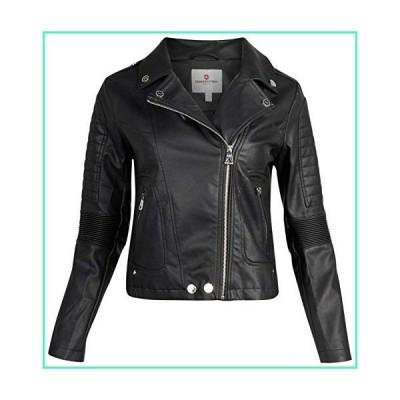 URBAN REPUBLIC Women Faux Leather Moto Biker Jacket with Studded Detailing, Size Large, Black Moto並行輸入品