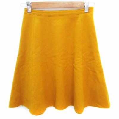 【中古】シップス SHIPS スカート フレア ひざ丈 ウール 36 黄色 イエロー /FF48 レディース