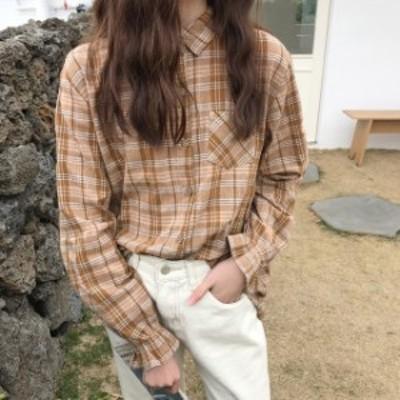 韓国 ファッション ドルマンシャツ ドルマンスリーブ チェックシャツ レディース チェック柄 オーバーサイズ シャツ オーバーサイズ レデ