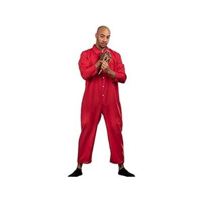 Red Jumpsuit, Foam Gold Scissors, Glove   Halloween Horror Movie Jump Suit
