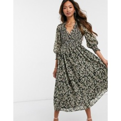 エイソス レディース ワンピース トップス ASOS DESIGN shirred midi dress in ditsy floral print Floral print
