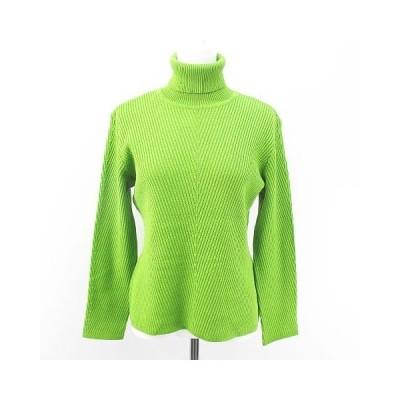 【中古】レオナール LEONARD 長袖 ニット セーター タートルネック 絹 シルク L 黄緑 ライトグリーン 日本製 リブ 毛 ウール レディース 【ベクトル 古着】