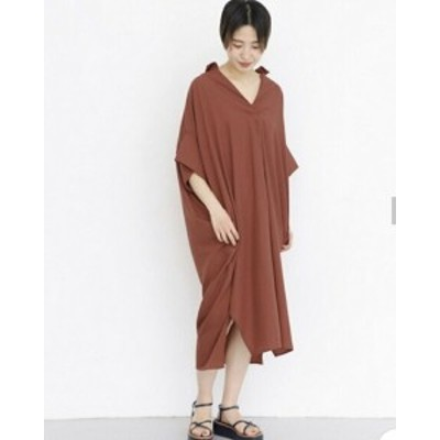 春新作 レディース Vネック ロングシャツワンピ 大きいサイズ ゆったり着れる スリットスカート