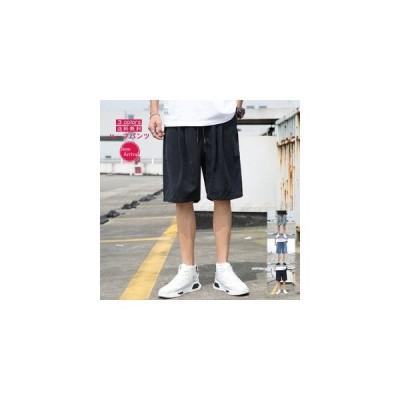 ハーフパンツ ショートパンツ メンズ 薄手 夏 5分丈 ワイドパンツ ウエストゴム ボトムス ズボン カジュアル アウトドア スポーツ 涼しい おしゃれ