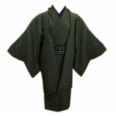 着物 メンズ 男性 お仕立て上がり 5点セット 渋緑色 M L LL 羽織 羽織紐 ワンタッチ角帯 半襦袢
