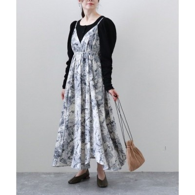 ワンピース ニュアンス柄裾ラウンドキャミワンピース