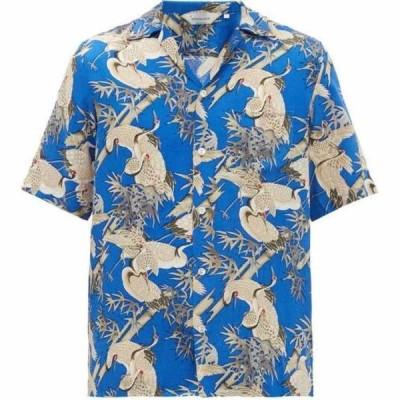 ニポアロハ Nipoaloha メンズ 半袖シャツ トップス Crane In The Bamboo Forest printed shirt Blue