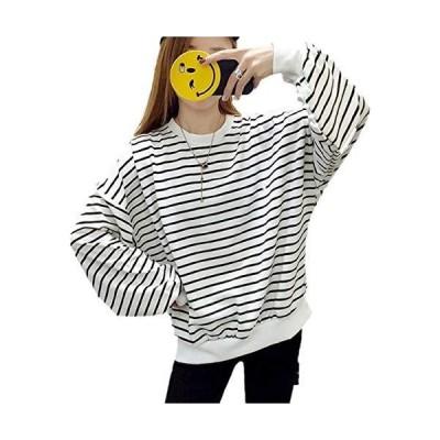 [アルバフィカ] レディース ボーダーライン シャツ トップス 長袖 シンプル デザイン (M, ホワイト)ゆったりトロミ コンプレッション