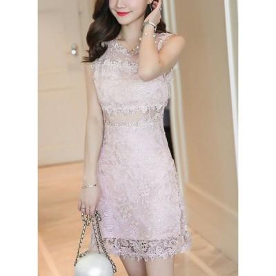 結婚式ドレス お呼ばれ ドレス ワンピース 30代 20代 キャバドレス ミニ ミニ丈ワンピース レースワンピース 花柄 ワンピース ノースリーブ jm5356