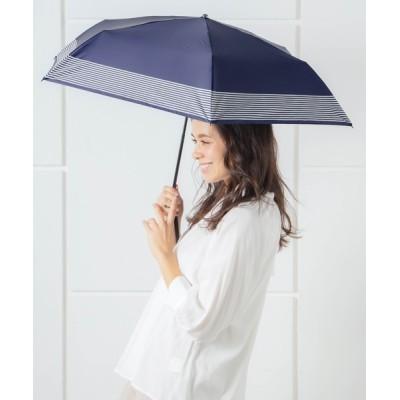 macocca / 完全遮光晴雨兼用 makez.マケズ コンパクト折りたたみ傘 裾ボーダー WOMEN ファッション雑貨 > 折りたたみ傘