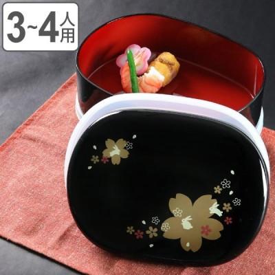 お弁当箱 7.0小判オードブル 黒 花うさぎ シール蓋付 2600ml ( お重 和柄 オードブル )