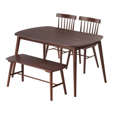 ウォルナット材テーブルとウィンザーチェアのダイニング4点セット