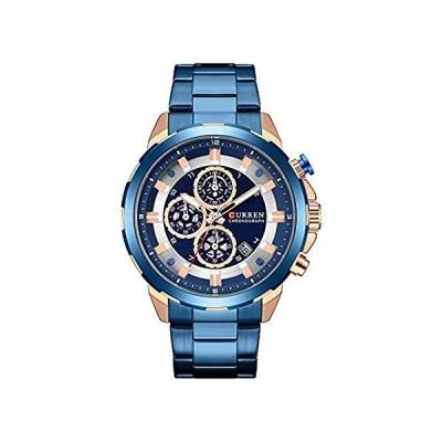 CURREN 腕時計 メンズ ラグジュアリー クォーツ 腕時計 メンズ カレンダー クロノグラフ オールステンレススチール 防水腕時計 ブルー