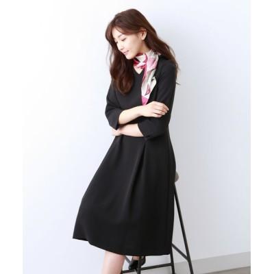 AMACA/アマカ 【Sサイズ〜】トリアセテートストレッチ ドレス ネイビー3 36