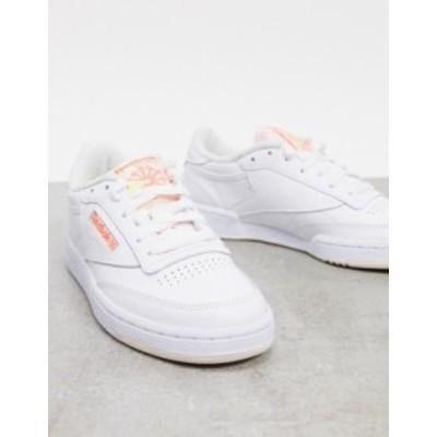 リーボック レディース スニーカー シューズ Reebok Club C sneakers in white with pink detail White