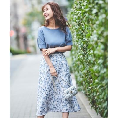 LAISSE PASSE / アシメ切替フラワースカート WOMEN スカート > スカート