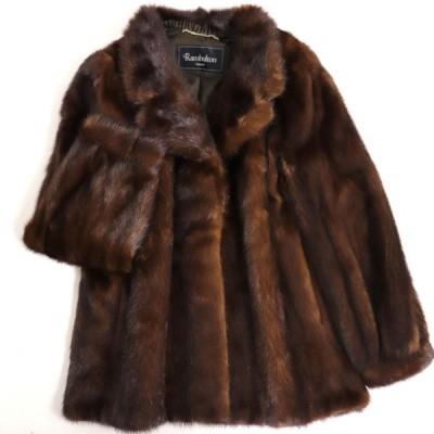 極美品▼Rambulton(ONWARD) MINK ランブルトン(オンワード) ミンク 裏地ロゴ柄 本毛皮コート ブラウン 毛質艶やか・柔らか◎