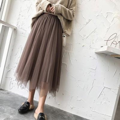 全3色 ロングスカート チュール プリーツ 2way 韓国風