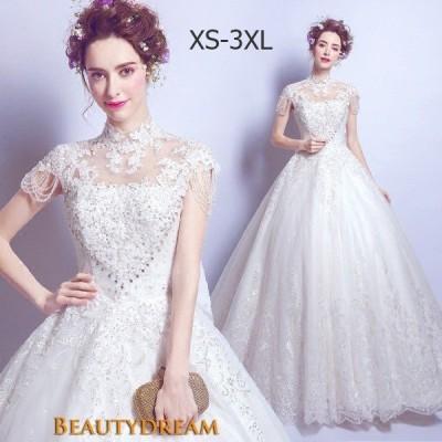 ウェディングドレス、可愛い花びら、二次会、ロングドレス、ウエディングドレス、エンパイアライン、ビーズ、レース、可愛い姫系hs2610