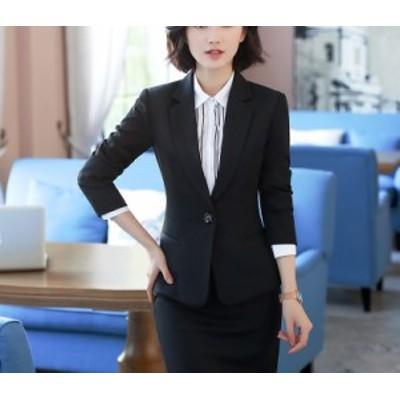 スーツ パンツ セットアップ 2点セットビジネス フォーマル【ブラック ジャケット+パンツ ジャケット+スカート】