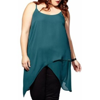 mblm  ファッション トップス MBLM BY TESS HOLLIDAY NEW Green Womens 10 Plus Asymmetric Tank Cami Top