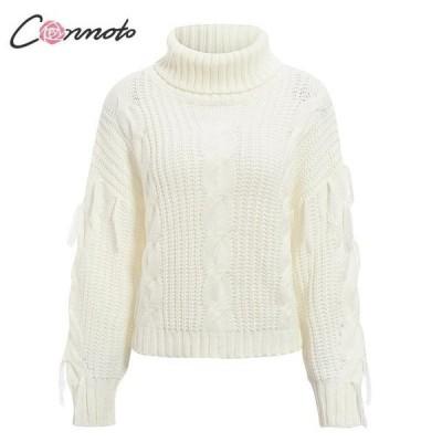 Conmoto カジュアル レディースセーター 2019冬 タートルネック ニットセーター White One Size