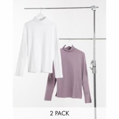 エイソス ASOS DESIGN メンズ 長袖Tシャツ 2点セット トップス 2 Pack Long Sleeve Roll Neck マルチカラー