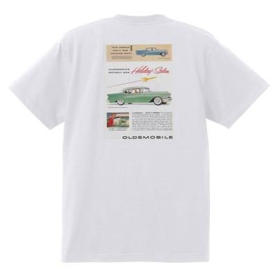アドバタイジング オールズモビル 636 白 Tシャツ 黒地へ変更可  1955 ゴールデン ロケット 88 98 スーパー ホリデー ホットロッド ローライダー