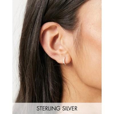 エイソス レディース ピアス・イヤリング アクセサリー ASOS DESIGN sterling silver hinge hoop earrings with crystals