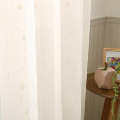 ミラーレースカーテン 見えない 刺繍レース ウォッシャブル リアン アイボリー 1.5倍ヒダ